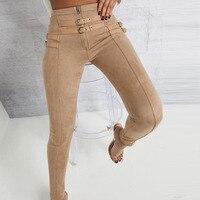 Suede High Waist Pencil Pants Capris Women Bottom Sash Streetwear Casual Pants 2019 Autumn Chic Black Winter Trousers