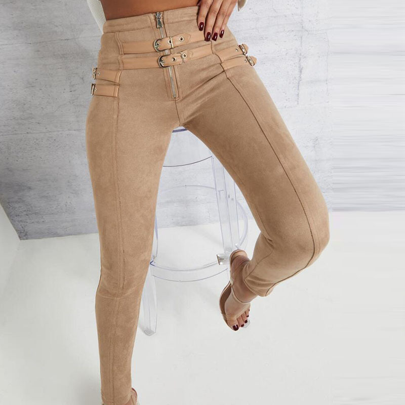 Suede High Waist Pencil   Pants     Capris   Women Bottom Sash Streetwear Casual   Pants   2019 Autumn Chic Black Winter Trousers