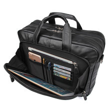 купить Men Original Leather Travel Business Briefcase Handbags Genuine Leather 17 Laptop Case Portfolio Bag Shoulder Messenger Bag дешево
