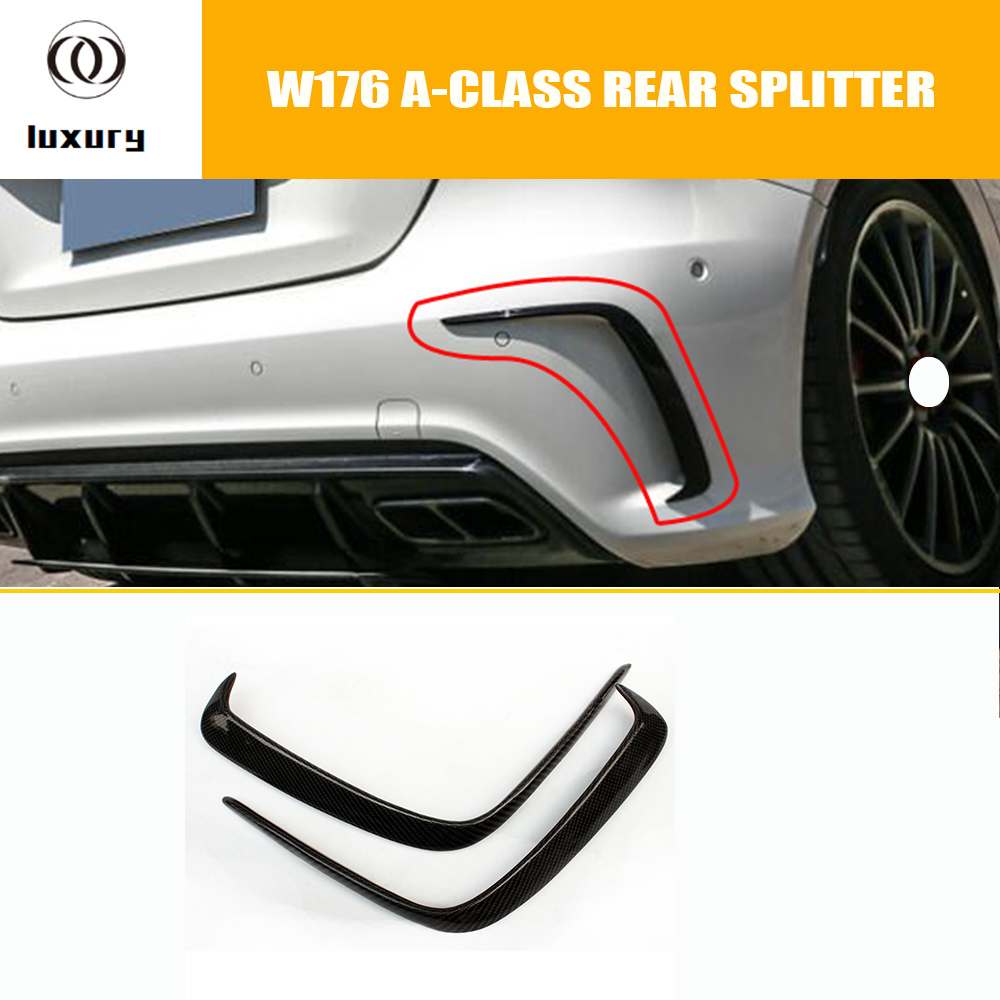 A45 Carbon Fiber Rear Bumper Vent Cover Trim for Benz W176 A-CLASS A200 A260 A45 AMG with AMG Package 2013 - 2018 mercedes w176 carbon fiber rear bumper canards for benz a class a45 amg package 2012 rear air dam trimming
