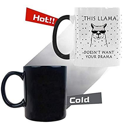 This Llama Doesn't Want Your Drama Heat Sensitive Mug Color Change Coffee Mug Travel, Morph Mug Tea Cup Funny Mother's Day Birt