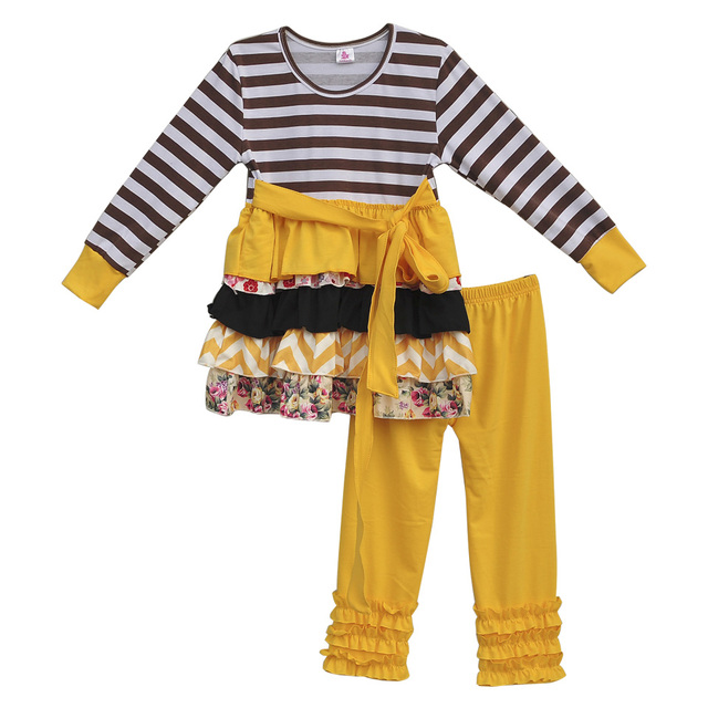 New Arrival Toddler Girls Cheap Cotton Outfits Fall Winter Stripes Ruffle Belt Outfits Mustard Pie Children Clothing Sets F030