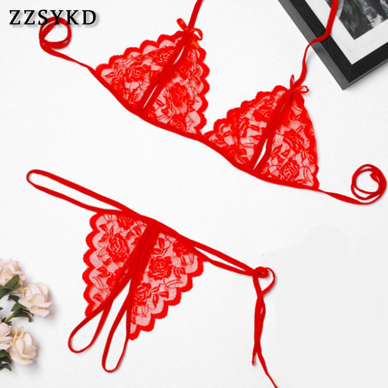 ZZSYKD Sexy   Bra     Set   Women Lace Lingerie   Sets   Push Up   Bra   Lingerie Erotic Translucent Bandage Underwear Women   Set   Lenceria Mujer