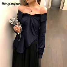 Hongsonghan Woman Blouse 2019 Fashion Long Sleeve Women Blouses and Tops Skew Collar Solid Sexy Shirt Casual Blusas Chemise