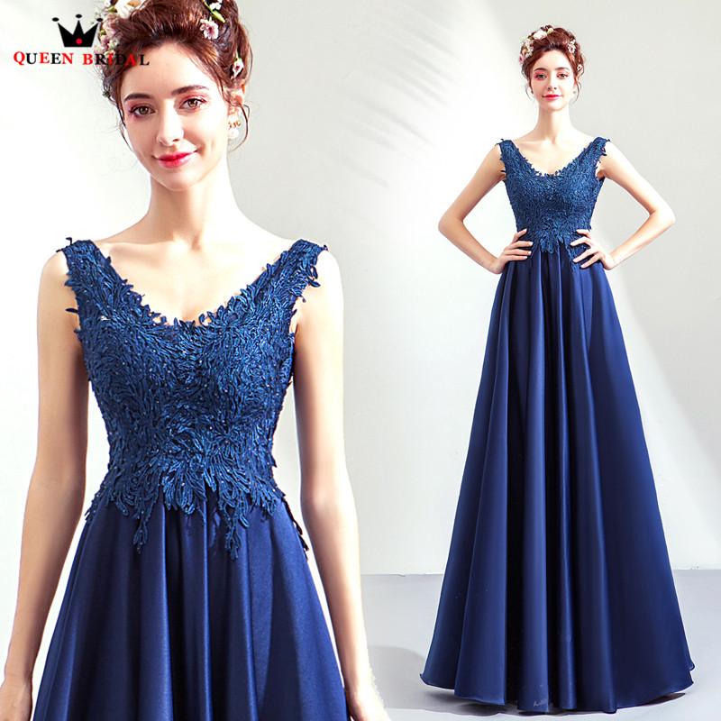 Blue Color A-line V-neck Lace Tulle Elegant Long Formal   Evening     Dresses   2018 New Fashion   Evening   Gown Robe De Soiree JU95