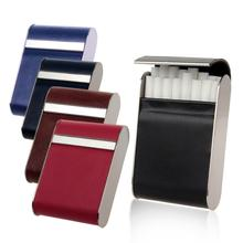 FIREDOG Brand Genuine Leather Holds 16Pcs Cigarettes Cigarette Case Smoking Accessories Metal Cigarette Box Holder CL57