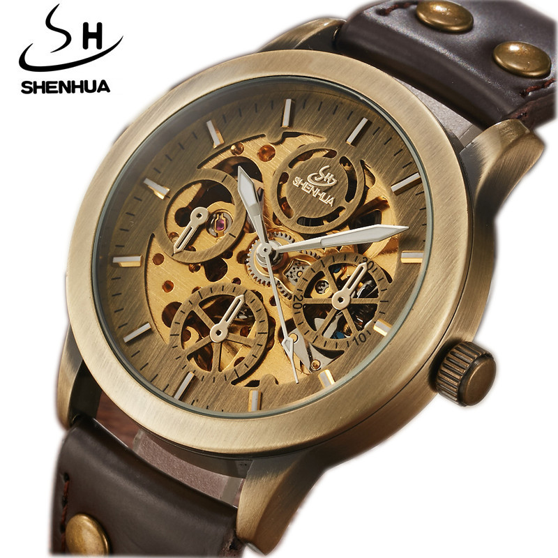 2019 SHENHUA Retro Bronze Automatic Mechanical Watch Mens Skeleton Luminous Real Leather Men Sport Speed Mechanical Wristwatches2019 SHENHUA Retro Bronze Automatic Mechanical Watch Mens Skeleton Luminous Real Leather Men Sport Speed Mechanical Wristwatches