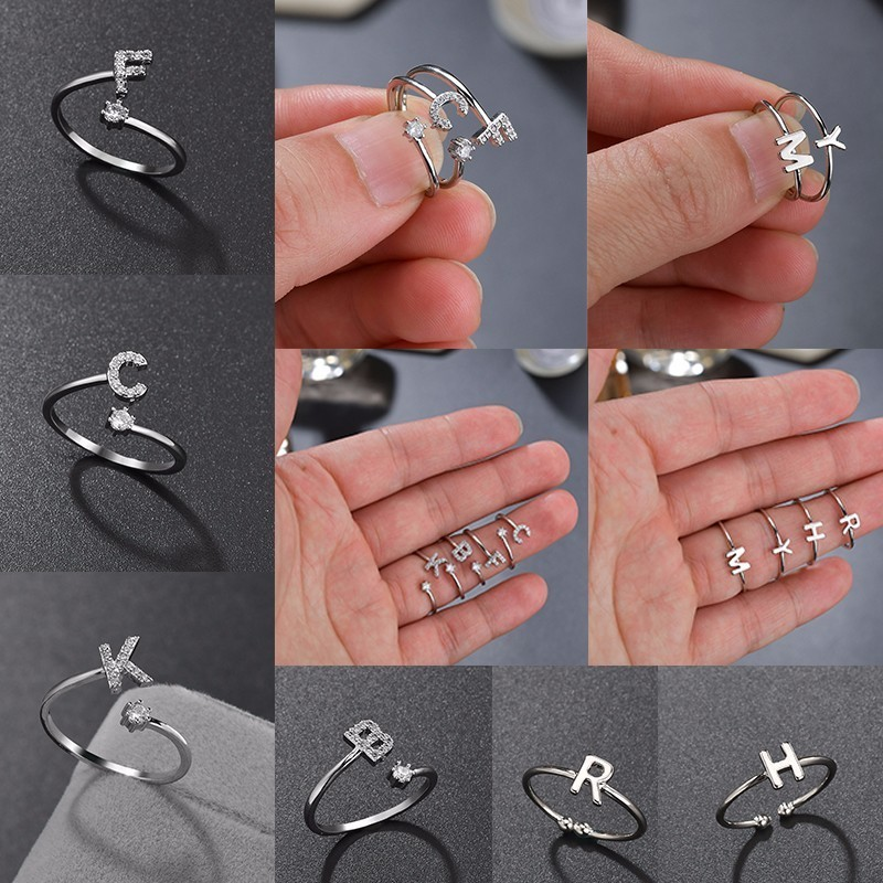 Letters-Rings Adjustable Christmas Stainless-Steel Wedding Silver A-Z Cute Women Xmas-Gifts