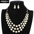 Gold Plate 3 Layer Necklace New Fashion Leaf Charm Imitate Plastic Pearl Necklace For Women Party Jewelry 6170