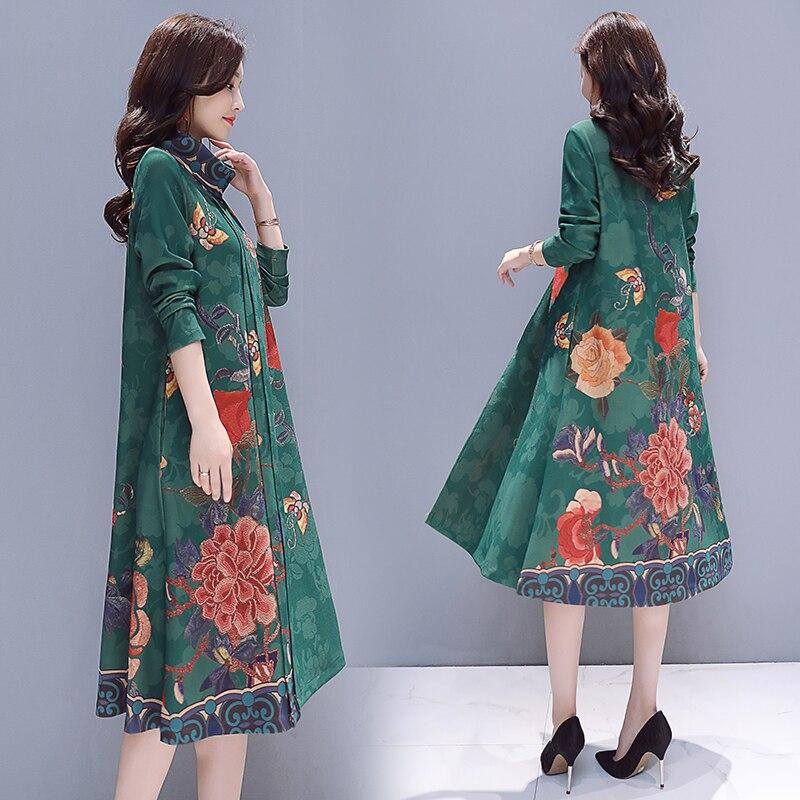 Nero Modo Collo A Stampa Giallo Vestito Il Inverno colore Delle Donne  Femminile Grande rosso Nuovo Allentato Di Del Elegante ... 5bc7f3eb232