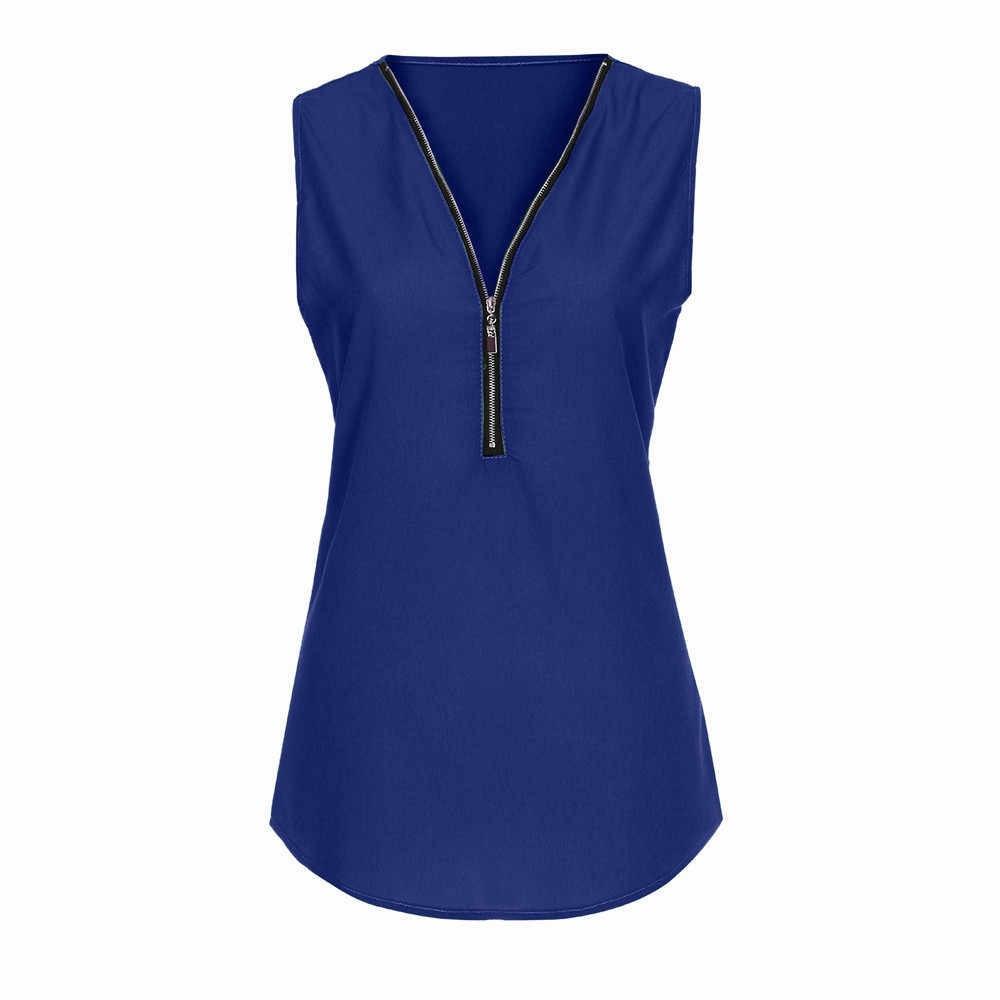 新しい女性ジッパーノースリーブカジュアルなベストの夏毎日ファッションソリッドカラーシンプルなルーズシャツ camiseta lencera mujer