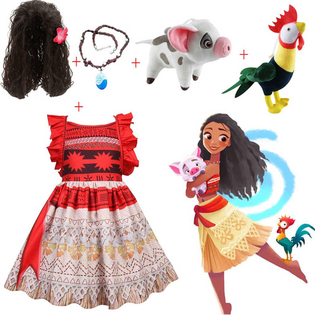 בנות חג המולד Moana קוספליי נסיכת שמלת ילדי ילדי Vaiana מסיבת ליל כל הקדושים בגדים עם שרשרת פאת חזיר חומוס תלבושות