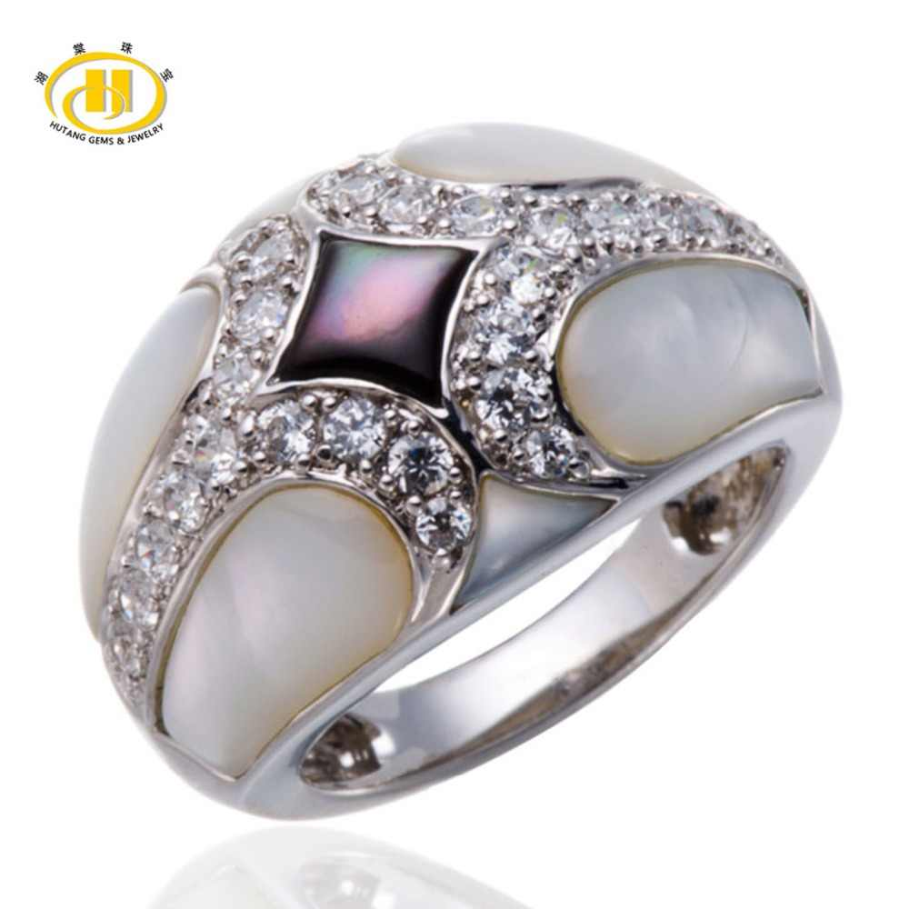 Hutang Unique Design Mother of Pearl Ring Solid 925 Sterling Silver Elegant Jewelry Fashion Fine Rings for Women's High Quality