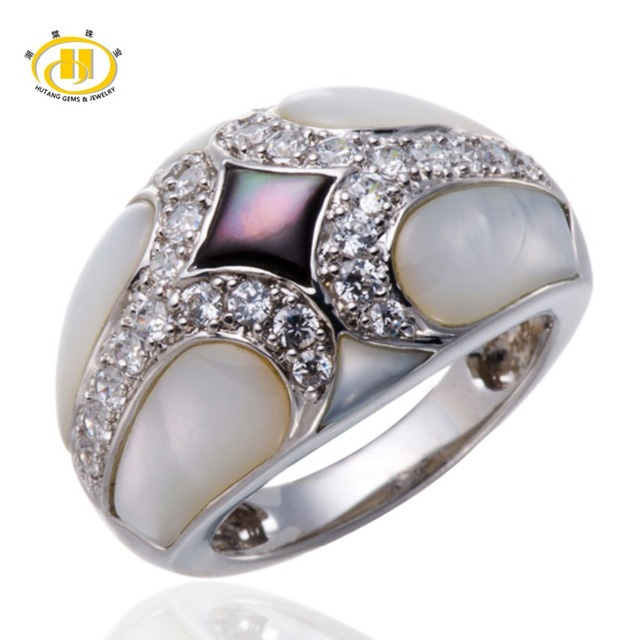 Hutang Unique Design Mother of Pearl Ring Solid 925 Sterling Silver Jewelry Fashion Fine Rings for Women's High Quality