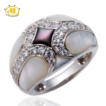 Hutang Distinctive Design Mom of Pearl Ring Stable 925 Sterling Silver Jewellery Style High-quality Rings for Girls's Excessive High quality