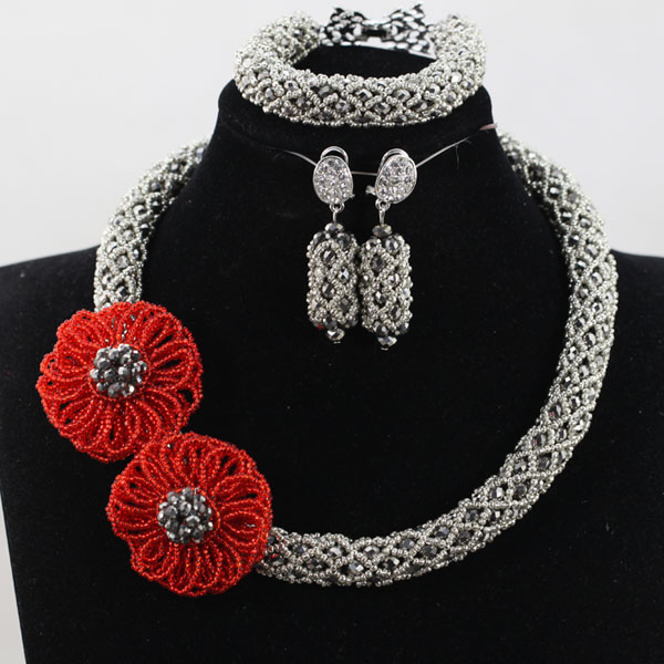 African Fashion Jewelry Set Red Flower Pendant Necklace Set Choker Bride Beads Jewelry Set Gift QW1061 flower geometric bar choker necklace set