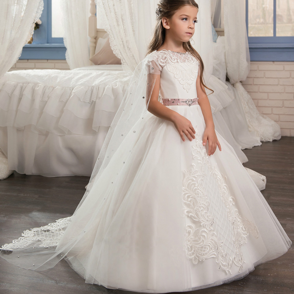 Unique   Flower     Girl     Dress   with Cape Appliques Belt Crystals for Wedding Tull Ball Gowns Vestidos De Novia First Communion Gowns