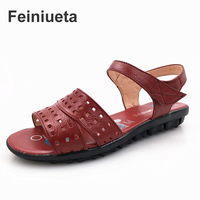 Feiniueta MOM Sandals Summer Leather Soft Mid Season Women S Sandals With Flat Bottomed Elderly Large