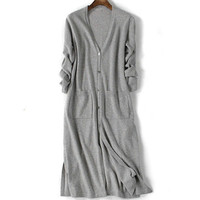 2018 New arrival Spring Autumn Woman V Neck Cardigan Casual Long Sweater cashmere Big yard Knit Pure color Wool Blended Sweater