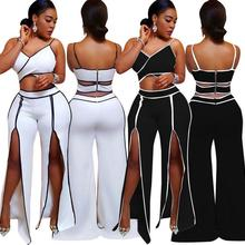 2Pcs/Set Sling Sexy top wrapped chest Trousers straight double row split trench