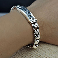 Pure 925 Silver Bracelet Width 10mm 18cm To 21cm Classic Reticular Link Chain S925 Thai Silver