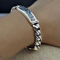 Pure 925 Silver Bracelet Width 10mm 18cm to 21cm Classic Reticular Link Chain S925 Thai Silver Bracelets for Women Men Jewelry