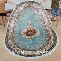 Yilong 6'x9' cashmere silk oval carpet persian handmade silk oval rug (0716)