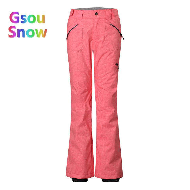 Gsou Snow Winter Outdoor Women's Skiing Sports Waterproof Ski Pants to Keep Warm Pink Camouflage Snowboarding Trousers