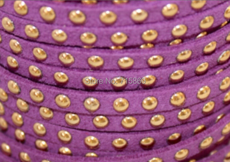 Free Ship 100 Meters Purple 5 x1.5mm w/ Gold Rivet Accents Microfiber Flat Faux Suede LeatherLace Cord For DIYJewelry