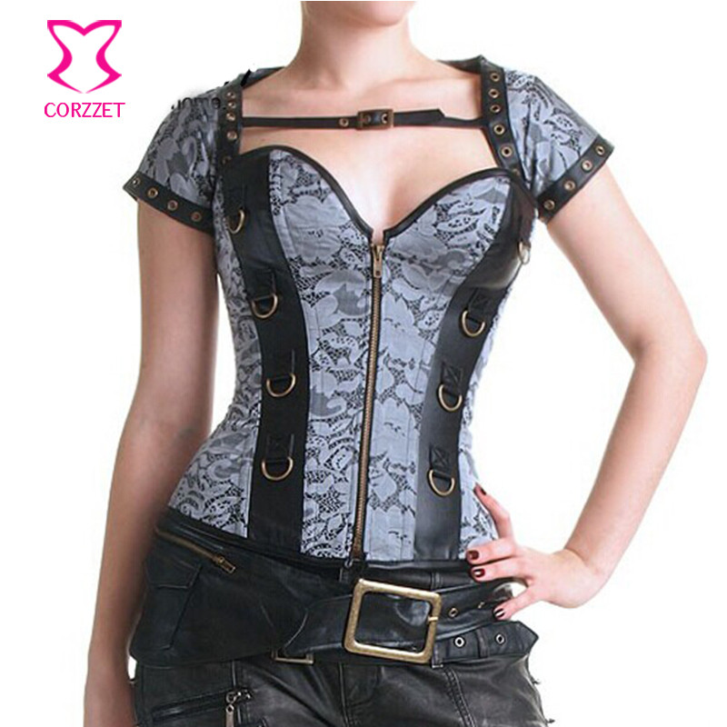 Gothic-Clothing-Steampunk-Corsets-And-Bustiers-Grey-Jacquard-Steel-Boned-Sexy-Corset-Top-Espartilho-E-Corselets
