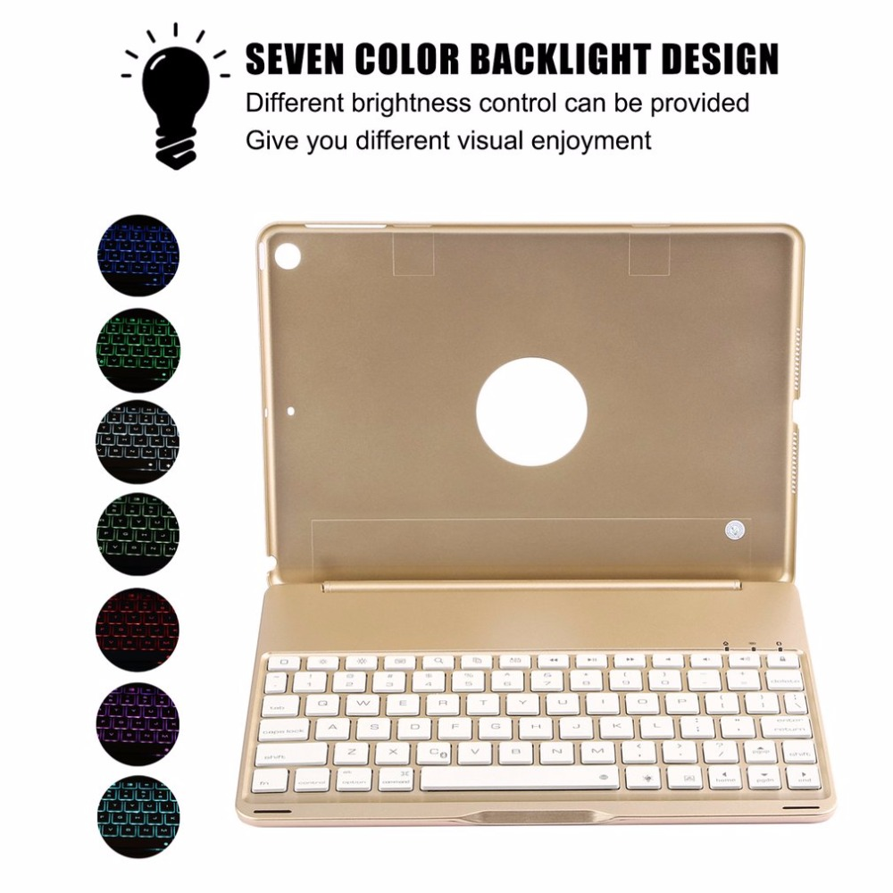 Keyboard Case for iPad 9.7 2017 & for iPad Air 1 Ultra Slim Wireless Bluetooth Keyboard Portable Notebook with Backlight violet 0408