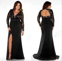 2017 New Sexy Hot Plus Size Prom font b Dresses b font A Line Black V