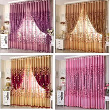 Free Shipping Curtains Luxury Beaded For Living Room Tulle +Blackout Curtain Window Treatment/drape In Golden/Pink Custom Made