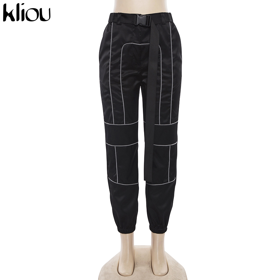 HTB1jlwUaizxK1RkSnaVq6xn9VXaQ - Kliou women fashion street Reflective patchwork cargo pants 2019 new arrival zipper fly with sashes pockets knitted trousers