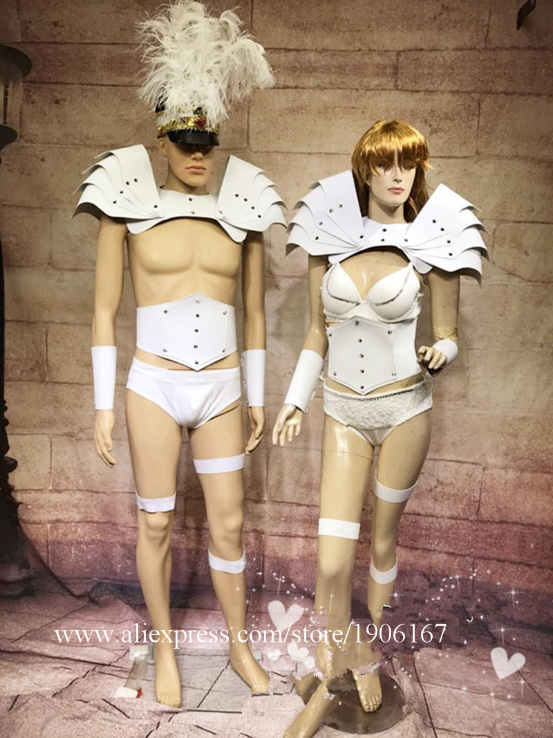 White cascading shrub costume party guest GOGO clothing auto show model catwalk shooting costume02_