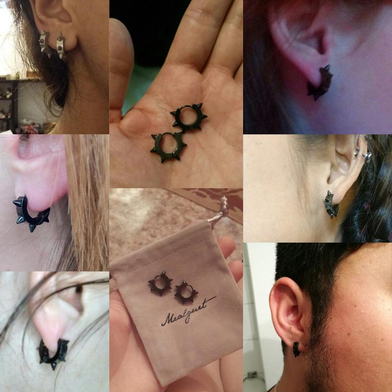 Meaeguet Black Nail Stud Earrings For Women Men Stainless Steel Rivet Spike Earrings Punk Rock Party Jewelry 2 Colors