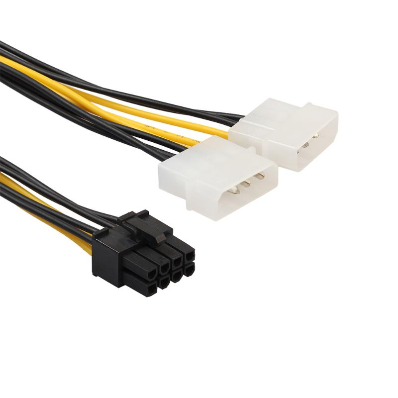 VAKIND 18cm 8Pin To Dual 4Pin Video Card Power Cord Y Shape 8 Pin PCI Express To Dual 4 Pin Molex Graphics Card Power Cable dual molex lp4 4 pin to 8 pin pci e express converter adapter power cable wire drop shipping 0725 page 9