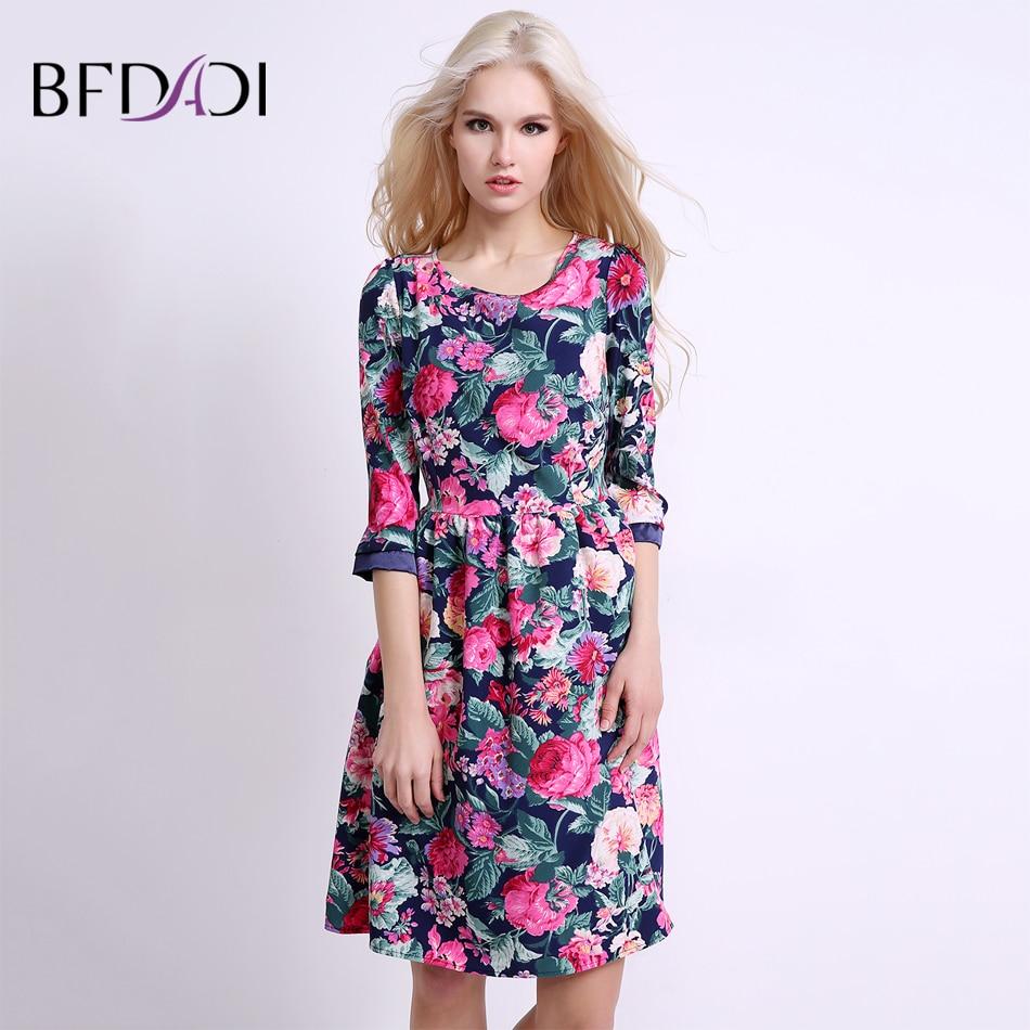 BFDADI 2019 Yaz Kadın Çiçekler Elbise Kemer Elbiseler Ile Tatlı - Bayan Giyimi - Fotoğraf 1