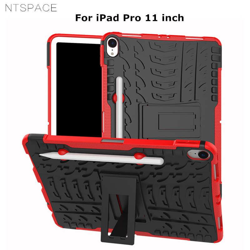 NTSPACE For Apple iPad Pro 11 Case PC + TPU Silicone Hybrid Armor Back Cover inch 2018 with Pencil Holder