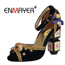 ENMAYER Big size 34-43 High heels Sandals Shoes women Summer Casual Rhinestone Flock Peep toe Pearl Metal Buckle strap Sale CR37 summer women sandals shoes genuine leather flock nubuck pearl buckle strap solid fashion sweet casual princess square high heels