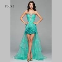 Sexy 2017 Hi Lo Gown Green Prom Dresses Sweetheart Sequin Tulle vestido de festa Evening Party Dresses Women