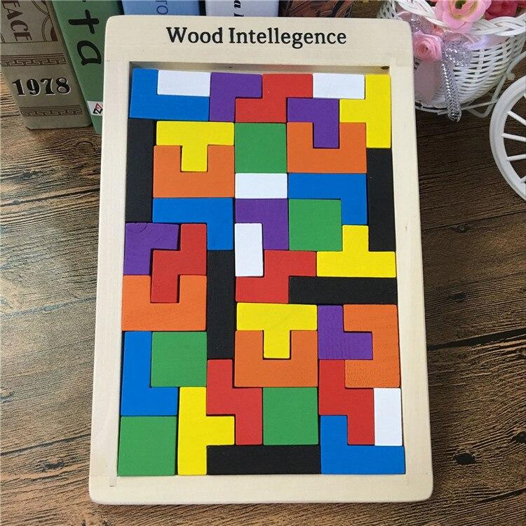 Baby Lernspielzeug Tetris Blöcke Holzspielzeug Familie Spiel Bausteine Kinder Holz Klassisches Spielzeug Geburtstagsgeschenk