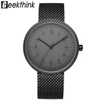 GEEKTHINK Watches Men Stainless Steel Wristwatch Japan Quartz Movement Simple Unique Design Style Luxury Brand Men