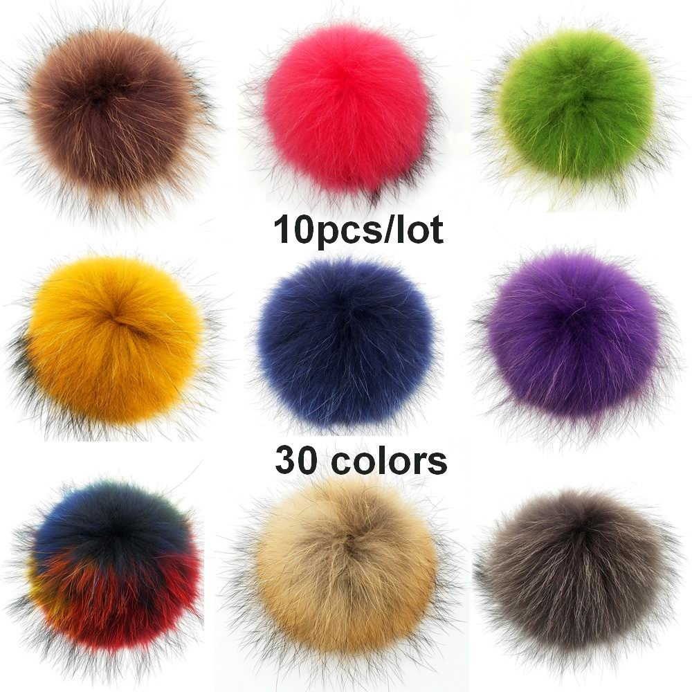 10pcs/lot Wholesales 13-15cm Real Raccoon Fur Pompoms Fur balls Tassels for Women Winter Knitted beanies keychain Caps