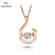 DovEggs Unique 10K Rose Gold 0.1carat Dancing Setting Diamond Solitaire Pendant Necklace For Women Chain Necklaces