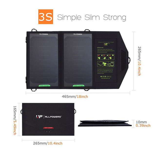 ALLPOWERS 5V 10W Foldable Solar Charger Outdoor Portable Solar Panel Charger for iphone iPad sumsung HTC sony and More.
