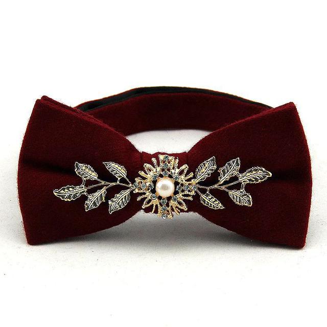 Corbatín Lana para Hombre Floral de lujo Hojas Novio Tuxedo Wedding Gravata Delgada Vestidos Flaco Corbatas Pañuelo de Cuello de Metal