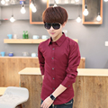 T china cheap wholesale 2016 spring Autumn new hot sale solid color Popular youth male fashion slim casual long-sleeve shirt