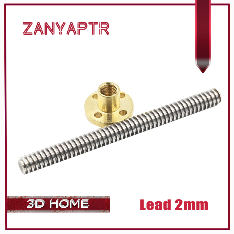 3D Printer &CNC Lead 2mm THSL-500-8D 200/300/400/500 T-type Stepper Motor Trapezoidal Lead Screw 8MM With Copper Nut