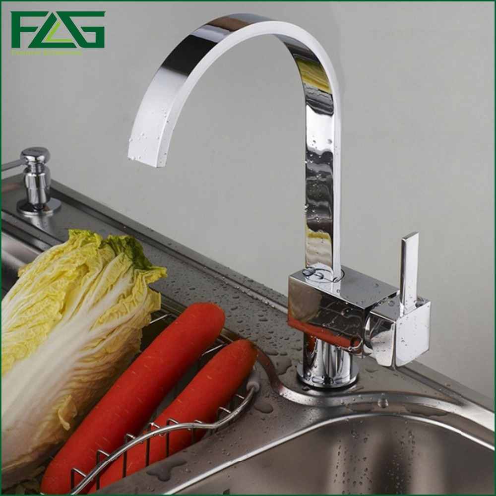 ФОТО FLG Best Quality Wholesale And Retail Waterfall Kitchen Faucet  Chrome Polished Solid Brass Vessel Faucet Mixer Sink Tap 8001